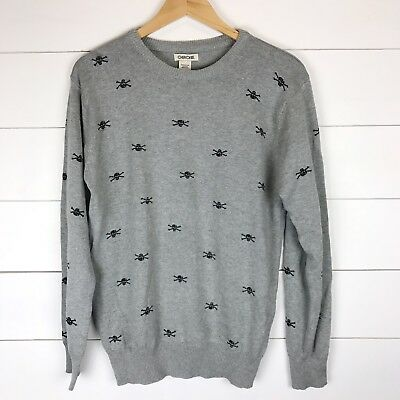 Gray Black Skull Print Sweater XL 16/18 Boys Cherokee Long Sleeve Graphic Crew