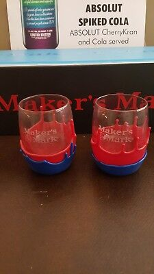 MAKERS MARK Blue Red Wax Bourbon Whiskey UK Bar Glasses 8oz. CATS BBN Louisville