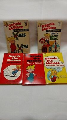 Vintage Dennis the Menace lot of 5 paperback books from 1970's