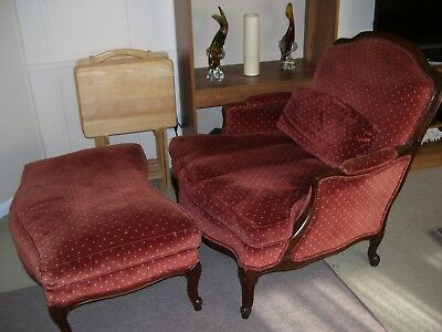 Vintage French Louis Xv Style Bergere Side Arm Chair With Matching Ottoman