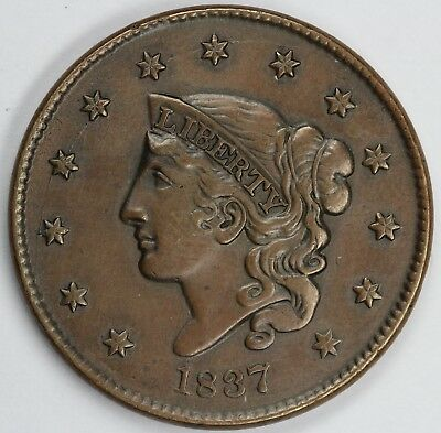 1837 1c Coronet or Matron Head N-5 Large Cent UNSLABBED