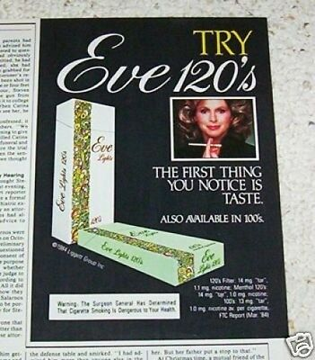 1985 vintage print ad - Eve Cigarettes girl smoking VINTAGE tobacco ADVERTISING