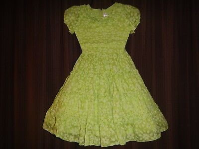 """Girls darling Swiss dots Easter party Vtg dress in apple green  14"""" front chest"""