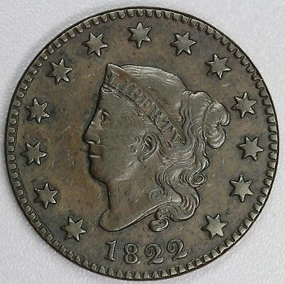 1822 1c Coronet or Matron Head N-10 Large Cent UNSLABBED