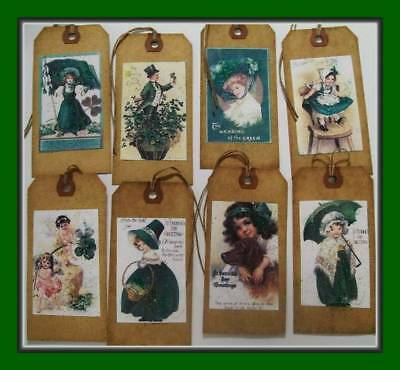 Vintage St. Patrick's Day Hang Tags With Green Glitter - Set Of Eight
