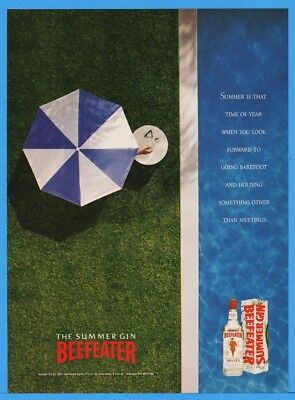 1992 Beefeater Gin SUMMER Umbrella Barefoot Something Other Than Meetings Ad