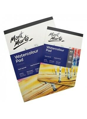 Mont Marte 180gsm German Paper Watercolour Pad Medium Tooth Avail in A5, A4, A3