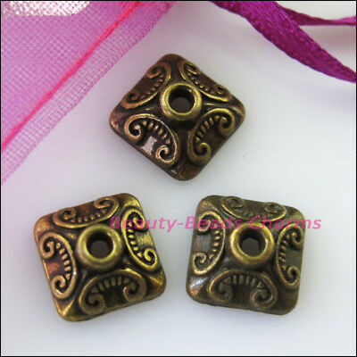 20Pcs Antiqued Bronze Tone Square Heart End Bead Caps Connectors 10mm