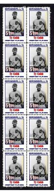 Ty Cobb Baseballs Greats Strip Of 10 Mint Stamps