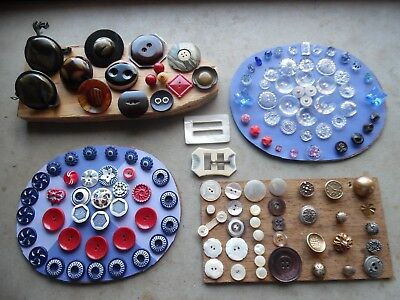 Antique Vintage Button Lot/Old Collection Glass Bakelite Celluloid Metal MOP
