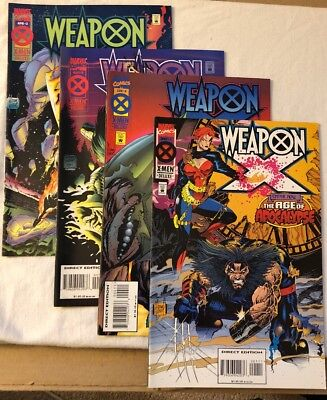 X-Men Weapon X Marvel Comic Lot issue 1,2,3,4 After Xavier:The Age of Apocalypse