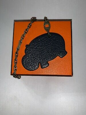 pre-loved authentic HERMÈS blue/green Epsom Leather HIPPO bag charm