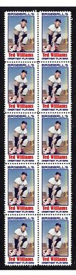 Ted Williams Baseballs Greats Strip Of 10 Mint Stamps