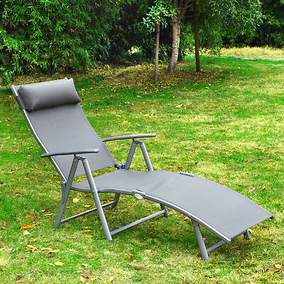 Outsunny Lounger Chaise Reclining Chair Tri-Fold Portable Beach Grey