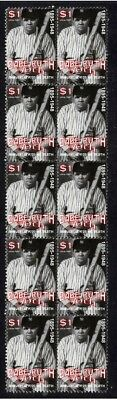BABE RUTH BASEBALL 50th ANNIV STRIP OF 10 MINT STAMPS 5
