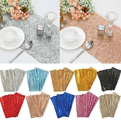"1 5 10pcs Sequin Table Runner Glitter Sparkly Cloth Bling Wedding Party 12""x108"""
