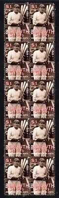 BABE RUTH BASEBALL 50th ANNIV STRIP OF 10 MINT STAMPS 1