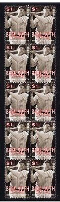 BABE RUTH BASEBALL 50th ANNIV STRIP OF 10 MINT STAMPS 2