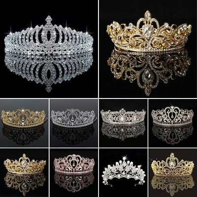 Princess Bridal Wedding Prom Headband Crystal Rhinestone Pearl Tiara Crown UK