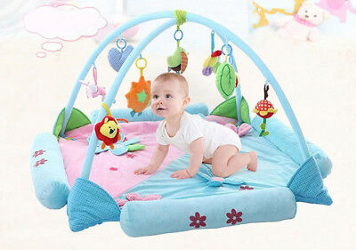 D11 Lake Blue Baby Fitness Bodybuilding Frame Velvet Play Mat Activity Gym A