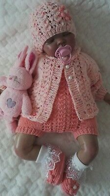"""🌸 Hand knitted baby cardigan/romper set 0-3 months / reborn doll 19"""" - 22"""""""