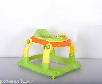 209-1 New 1 Baby Green Plastic Collapsible Comfortable 4 Wheels Baby Walker