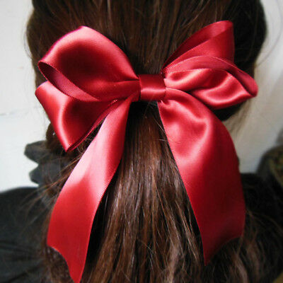 Wine Red Girl Elastic Bowtie Hair Tie Band Scrunchie Rope Ponytail Holder Ribbon