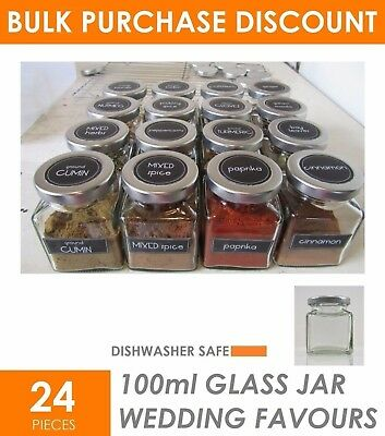 24 x SQUARE 100ml Glass Jars Small - Lolly Jam Honey Spice Canister Conserve Jar