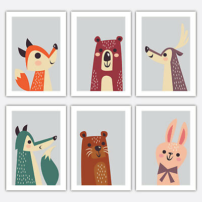Art PRINT COLOURFUL ANIMAL collection Scandinavian Poster Wall Nursery 3 for 2