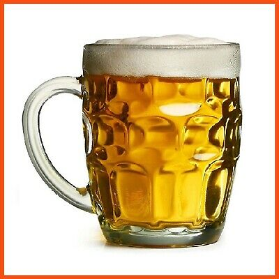 48 x CLASSIC 530ml Dimple Clear Glass Beer Mug with Handle - Beer Glasses Mugs