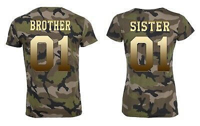 """Partner Camouflage T-Shirt SET """"BROTHER & SISTER"""" mit WUNSCHZAHL king queen bff"""