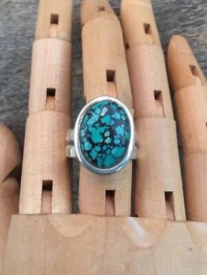 Turquoise Shield, Hammered Wide Band Sterling Silver Ring Sz 10 .Q120
