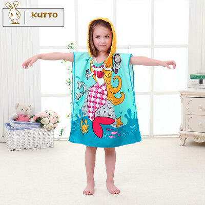 1PC Kids Infant Baby Bath Towel Cartoon Animal Hooded Towel Bathrobe BlueMermaid
