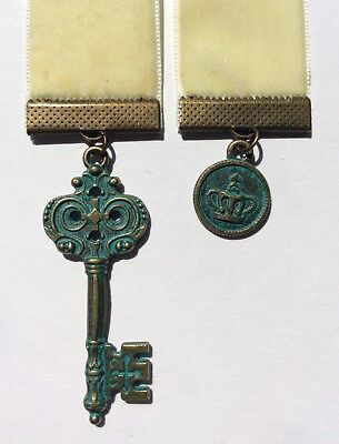 Velvet Bookmark, BUY 3 GET ONE FREE!, Antique Look Key/Coin Charms, Book Mark .