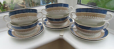 Keeling & Co, Losol Ware, 'Claremont' Pattern, Set of of 6 Soup Bowls & Saucers