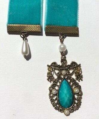 Pretty Teal Velvet Bookmark, BUY 3, GET ONE FREE!, Antique Look Charms,Book Mark