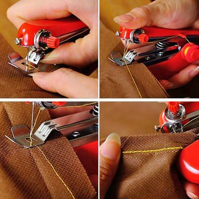 Portable Mini Hand Held Sewing Machine Small Compact Child Easy Stitcher Red UK