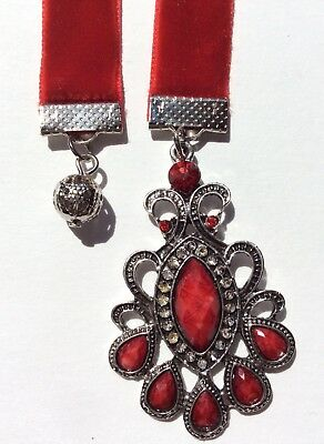 Red Velvet Bookmark, BUY 3, GET ONE FREE!, Antique Look Charms, Book Mark
