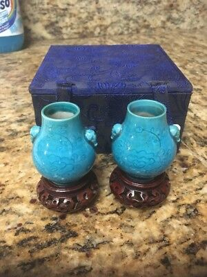 "Antique Porcelain Asian Vases, Pair of 2 Blue  2""T with Certificate of Antiquity"