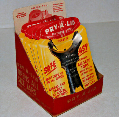6 Pry-A-Lid Jar Top Removers w/ Store Display & Instructions 50's Baltimore, MD