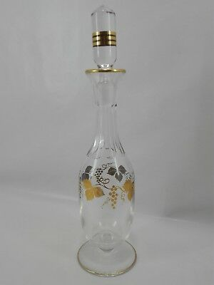 Antique Clear Glass Bottle Wine Liquor Vine Grapes Gold Painted