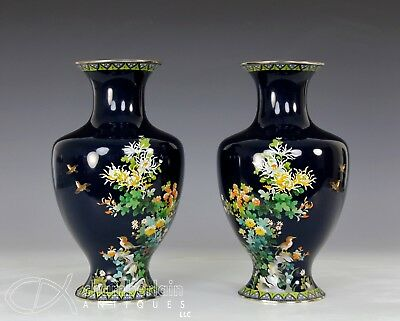 Fine Pair Of Old Japanese Cloisonne Vases Made By Ando