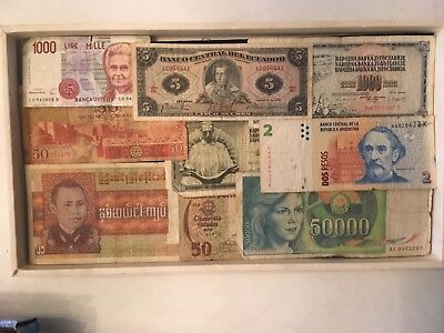 WORLD WIDE  vintage Paper Money  lot 9 piece all different