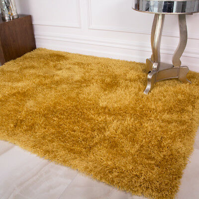 Soft Thick Fluffy Ochre Gold Mustard Shaggy Rug Bedroom Living Room Large Rugs