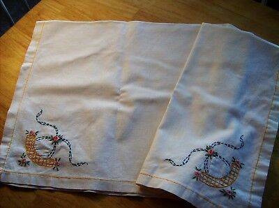 White Linen Tablecloth with Embroidered Flowers