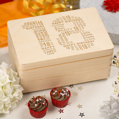 Laser Engraved Wooden Memory Keepsake Box with Hinged Lid - 18