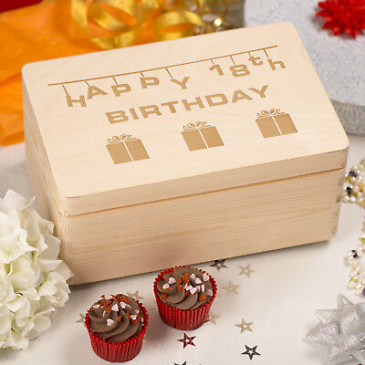 Laser Engraved Wooden Memory Keepsake Box with Hinged Lid - 18 Present