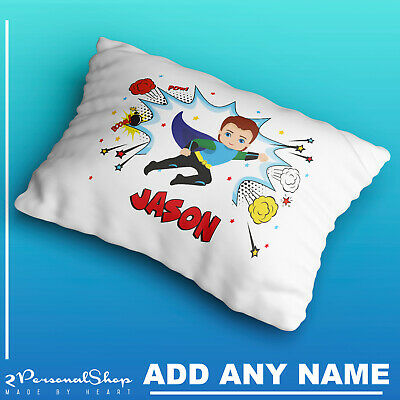 Personalised Children Superhero Pillowcase Printed Gift Custom Print New 102