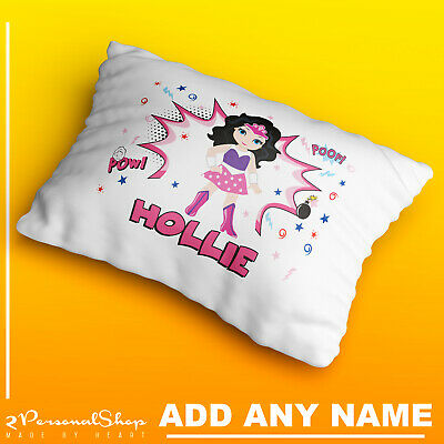 Personalised Children Superhero Pillowcase Printed Gift Custom Print New 111