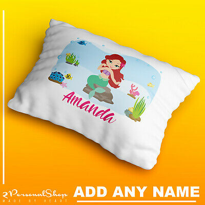 Personalised Children Mermaid Pillow Case Printed Gift Custom Print New 101
